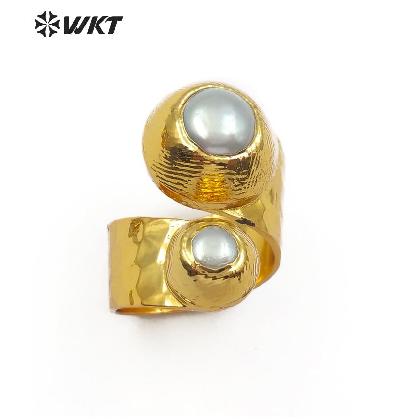 Anillo de piedra preciosa con doble diseño de moda de WT-R329, Perla Natural de agua dulce, anillo de oro ajustable para mujer con forma de Ja redonda