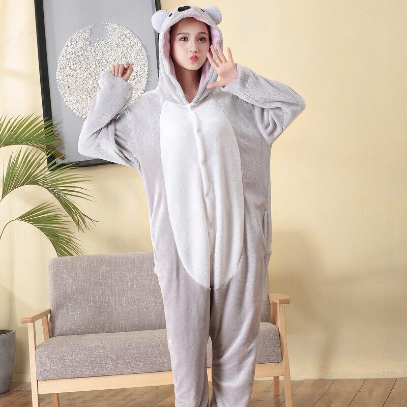 Pijama Kigurumi Koala de franela para adultos, pijama de una pieza de Animal, disfraz de fiesta de Halloween para mujer