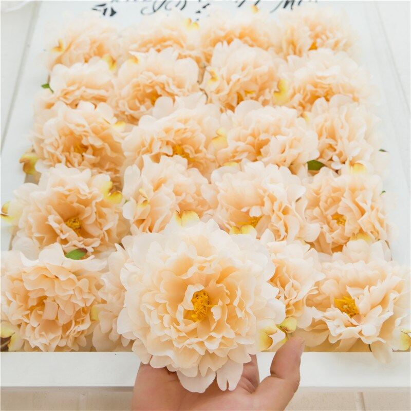 10pcs Artificial silk peony flower heads for wedding DIY hotel background wall decoration accessories flores fake flowers