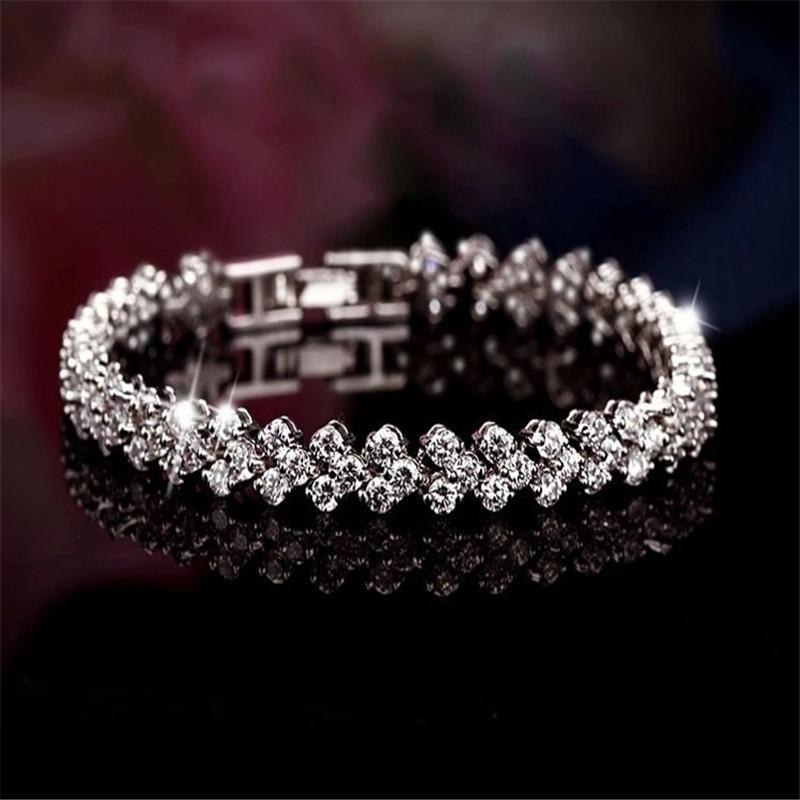 Woman Bracelet Silver Crystal Shinning Rhinestone Gem Bridal Wedding Tennis  Chain Bling   For Women 16