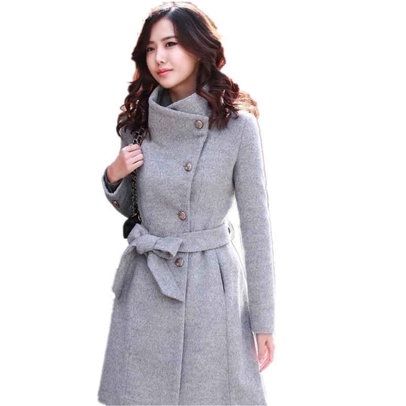 Abrigo largo de Otoño Invierno para mujer con cinturón Khkai, abrigo de...