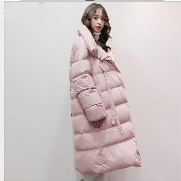 Las mujeres rosa/Negro ligero chaqueta mujer chaqueta acolchada de la cintura por encima de la rodilla de pato larga las mujeres capa parkas Mujer