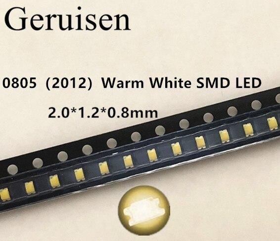 500 pces 0805 smd led branco morno leds 2800-3200 k diodo de luz claro água diy super brilhante