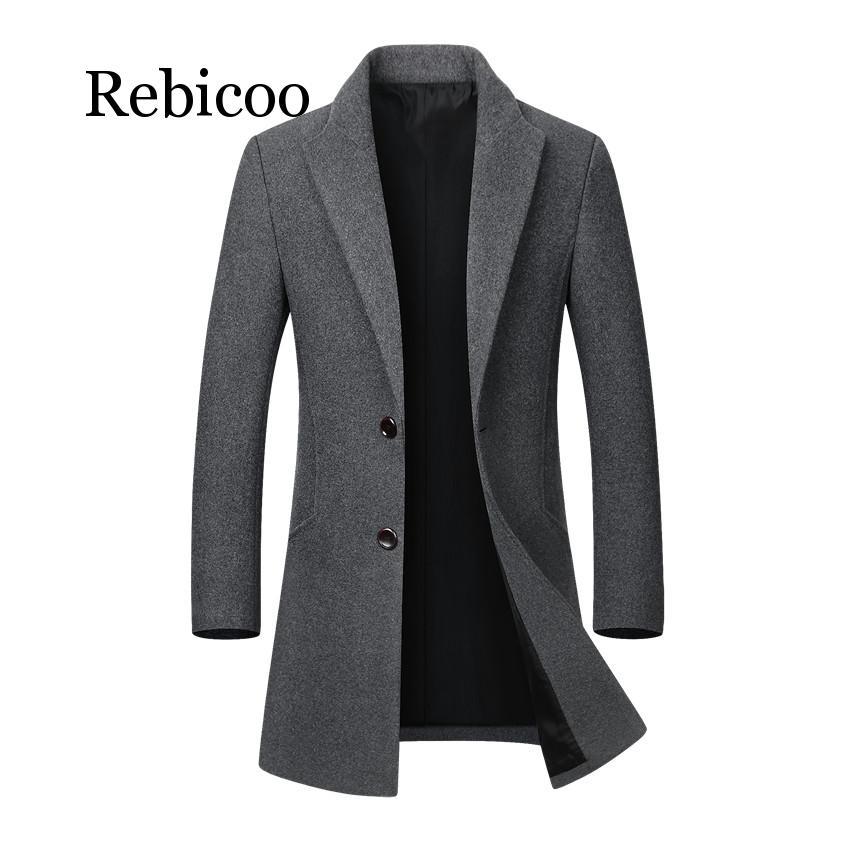 Мужская теплая зимняя куртка, длинная верхняя одежда, пальто на пуговицах, Мужская Повседневная ветровка, пальто, куртки, пальто из смешанно...