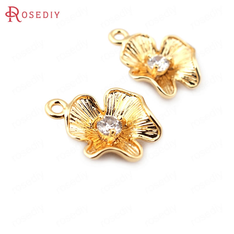 (33665)10 pièces 14*11MM 24K couleur or laiton avec Zircon fleur breloques pendentifs haute qualité bijoux à bricoler soi-même trouvailles accessoires