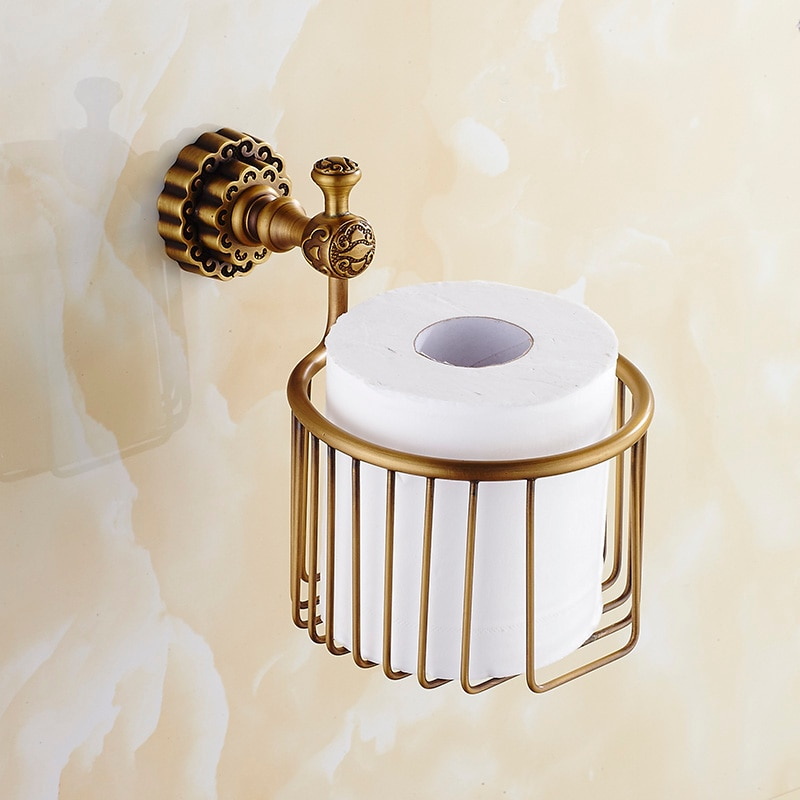 Soporte de papel Vintage, latón macizo, bronce, papel higiénico, cesta, estante de pared para baño, accesorios de baño, soporte de papel higiénico