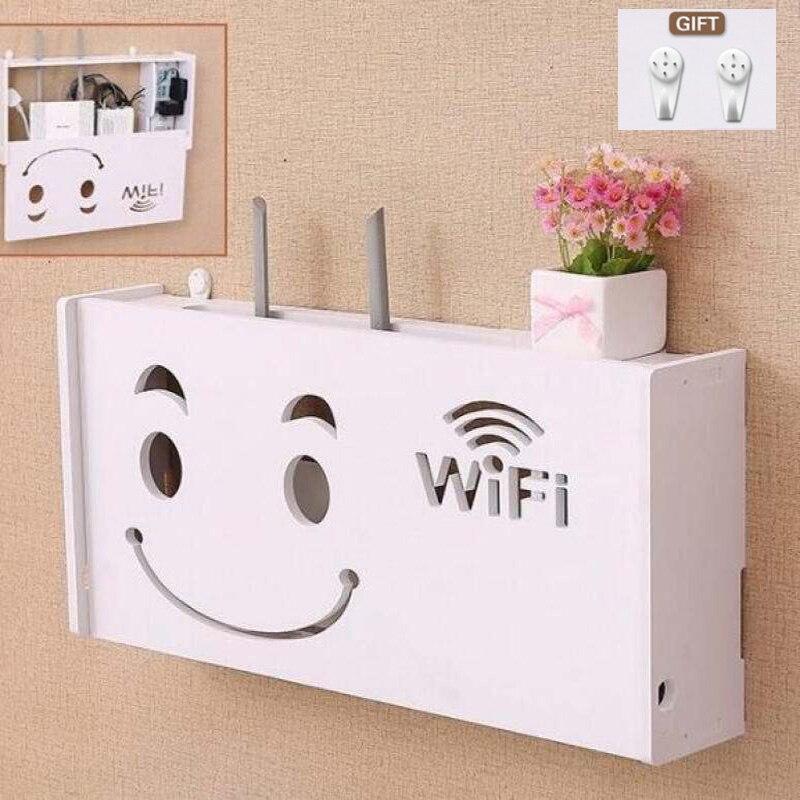Caja de almacenamiento enrutador Wifi inalámbrico PVC panel estante de pared colgante enchufe tablero soporte Cable almacenamiento organizador hogar rango 3 tamaños