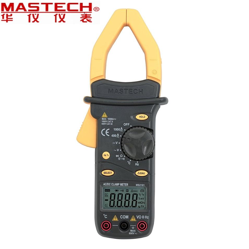 ¡NOVEDAD DE 2017! Medidor de pinza MASTECH MS2101 CA/CC 1000A medidor de pinza Digital DMM Hz/C, medidor de frecuencia de capacitancia medida