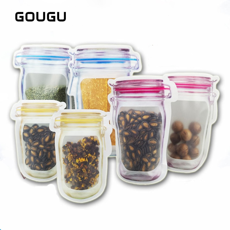 GOUGU 10 Uds Mason Jar bolsas de almacenamiento con cierre zip reutilizable bolsa de ahorro de alimentos bolsas de almacenamiento de bocadillos a prueba de fugas para viajes niños A-320
