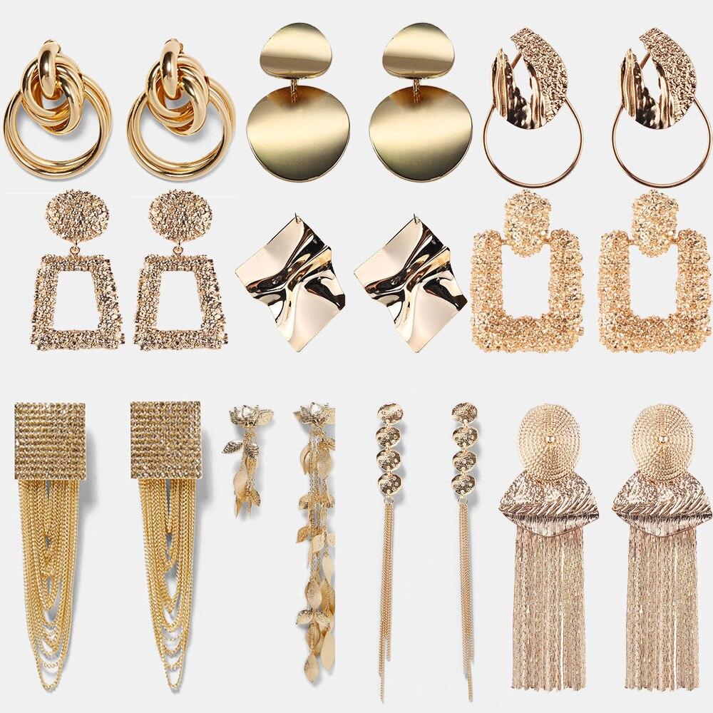 Girlgo Unique Circle Punk Maxi Drop Earrings  Women Square Metal Dangle Earrings Vintage Statement Tassel Chains Brincos Jewelry