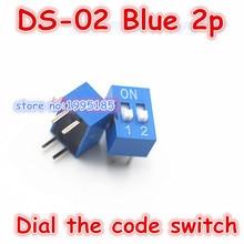 20 шт./лот DS-02 2,54 мм 2P DIP переключатель кода/переключатель кодирования 2P синий циферблат переключатель кода