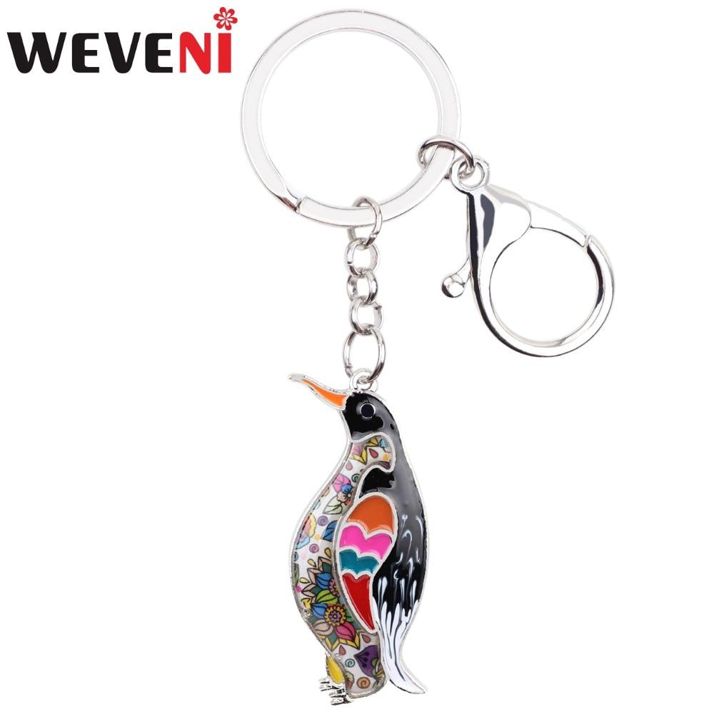 WEVENI  Ocean Collection Animal Enamel Penguin Key Chain Women keychain Gift For Girl Pendant Key Holder Car key Charms Jewelry