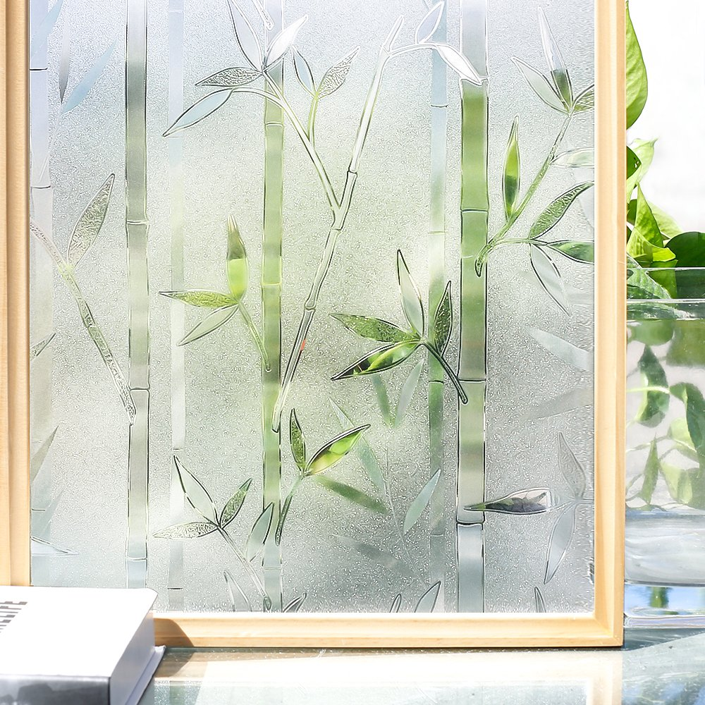 LUCKYYJ, película 3D para ventana de privacidad, película de vidrio transparente estática, película esmerilada de bambú, vinilo decorativo, autoadhesiva, pegatina para ventana