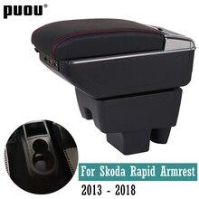 Para skoda rapid 2013-2018 caixa de apoio de braço rotativo central armazenamento de conteúdo interior do carro-estilo suporte de copo com