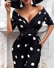 Sexy Deep V Neck Polka Dot Print O-Ring Belted Dress 2019 Summer Elegant Vestidos Bodycon Sexy Party Office Dress