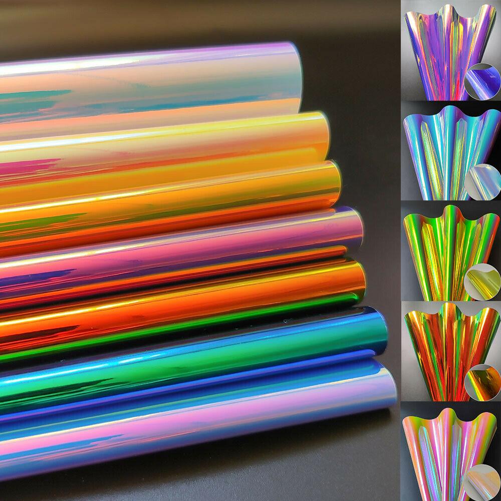 Радужная голографическая Радужная ткань из искусственной кожи, лазерная ткань, бант для волос, толщина материала 0,9 мм