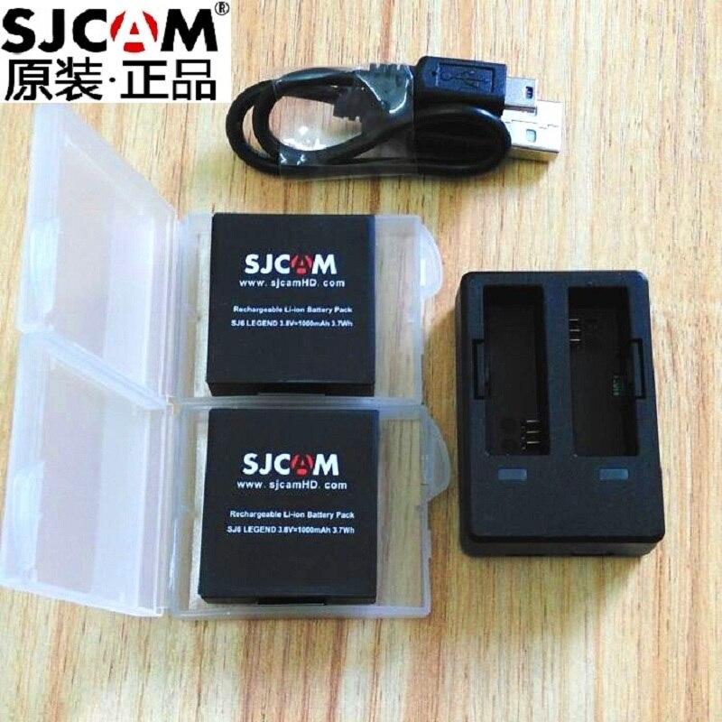 SJCAM SJ6 Legend Original Accessories Batteries Rechargable Power Dual Battery Charging Case For SJCAM Action Sports Camera