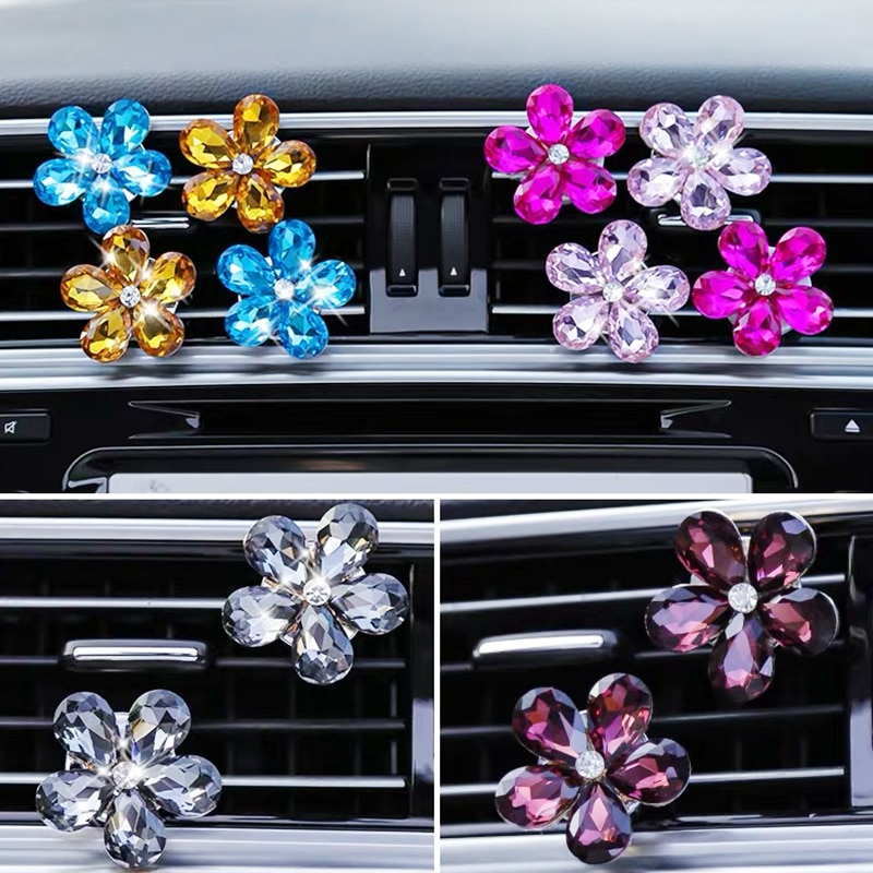 AliExpress - 3pcs creative rhinestone crystal flower car air outlet perfume clip studded aroma car interior jewelry accessories women gift