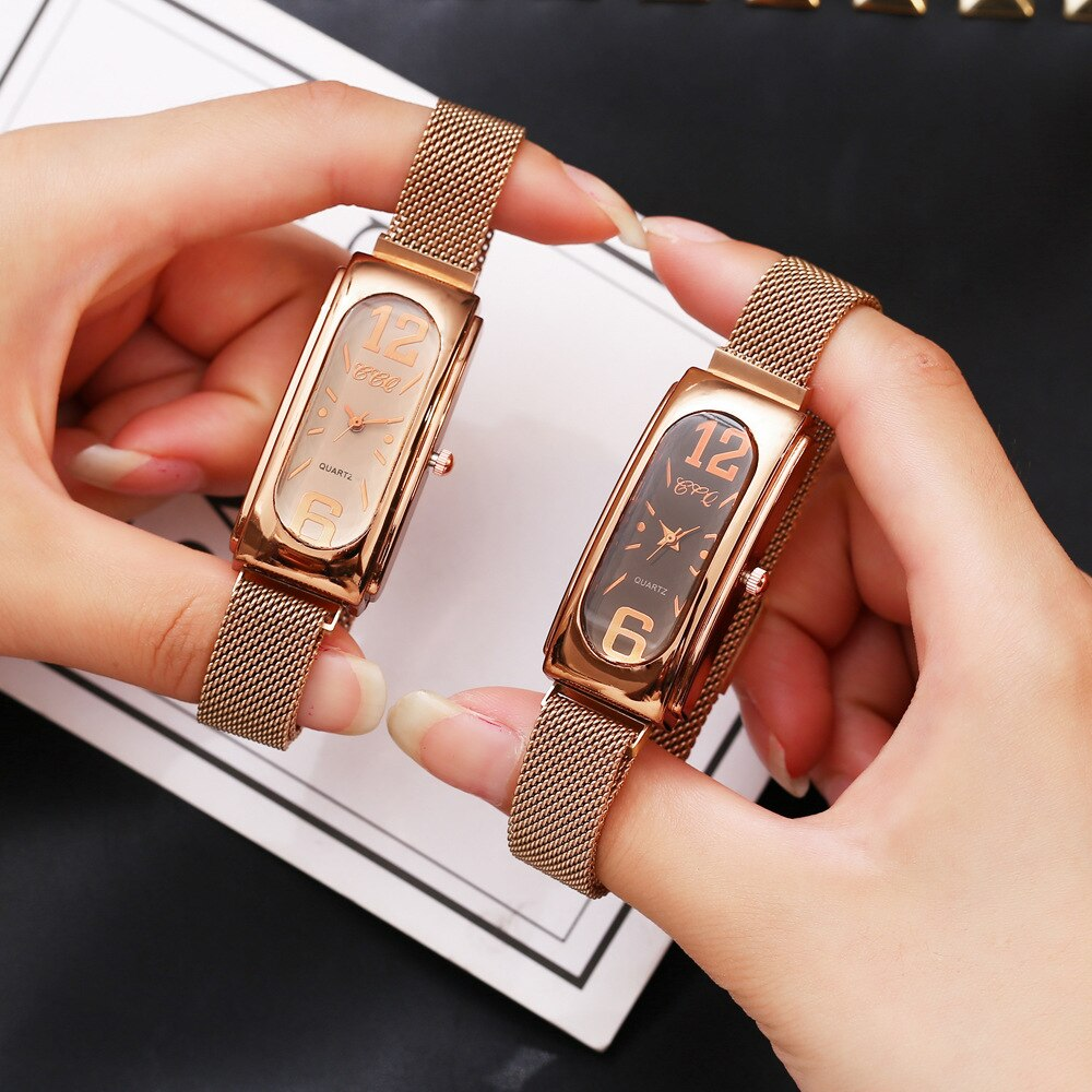 Creative Rectangle Ladies Watch 2019 Fashion Casual Luxury Rose Gold Diamond Watch Women Wrist Watches Steel Magnetic Mesh Clock