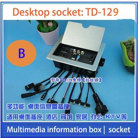HD HDMI de mesa/socket oculto/información multimedia caja tomacorriente/micrófono RJ45 video Audio VGA USB toma de interfaz de escritorio F-128