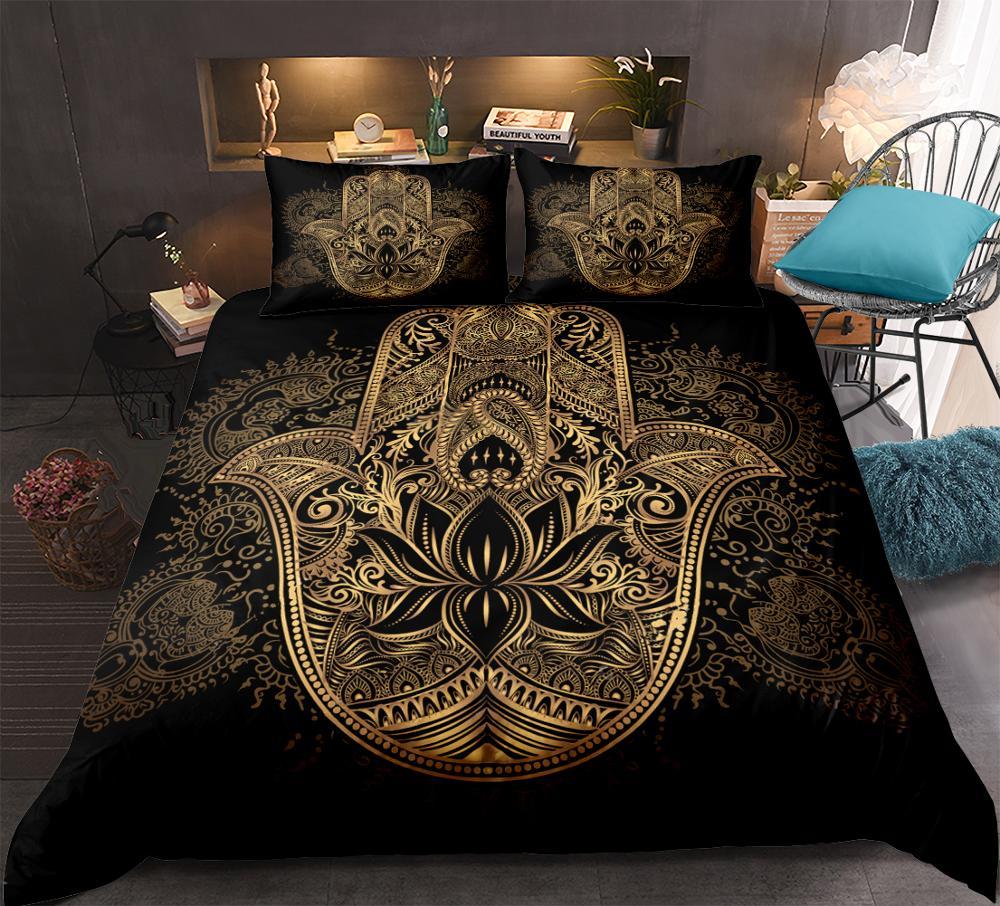 Hamsa Hand Bedding Set Boho Mandala Duvet Cover Set Black Gold Bohemia Bed Set Fatima Hand bed linen Lucky Hand Quilt Cover