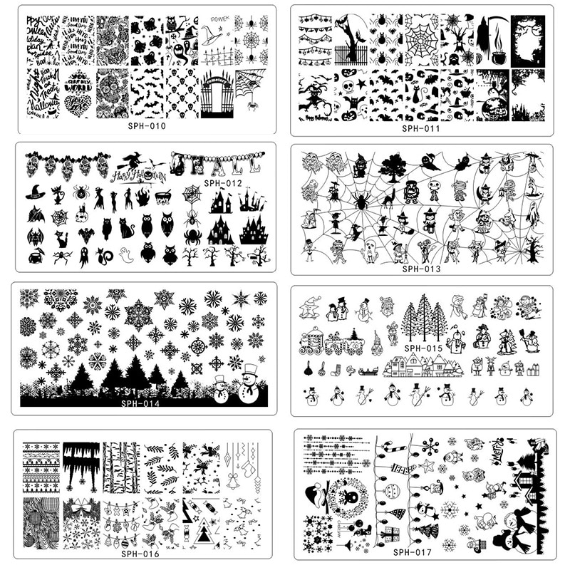 8Pcs/lot Festival Happy Halloween&Christams Image Nail Stamping Plates Image Stamping Nail Art Manicure Template Nail StampTools
