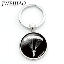 JWEIJIAO-porte-clés Porte-clé lalaveros personnalisé, charmant, pour sport, plongée dans le ciel, Parachute, aller