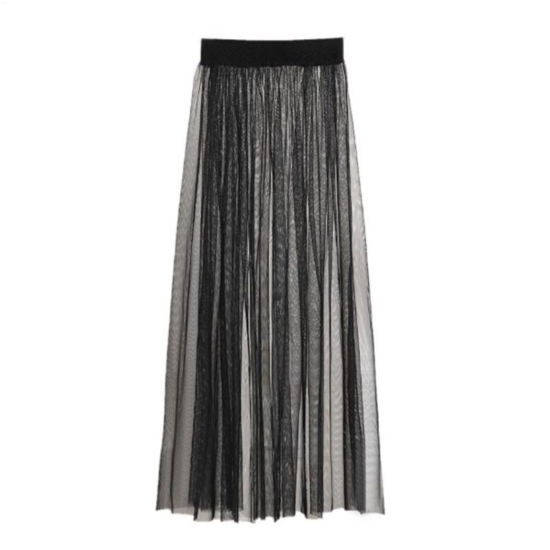 Maxi Falda larga de tul de malla transparente Sexy para mujer, falda larga de tul Ultra fina plisada, Color liso, cintura alta, ropa de fiesta de cóctel Singl