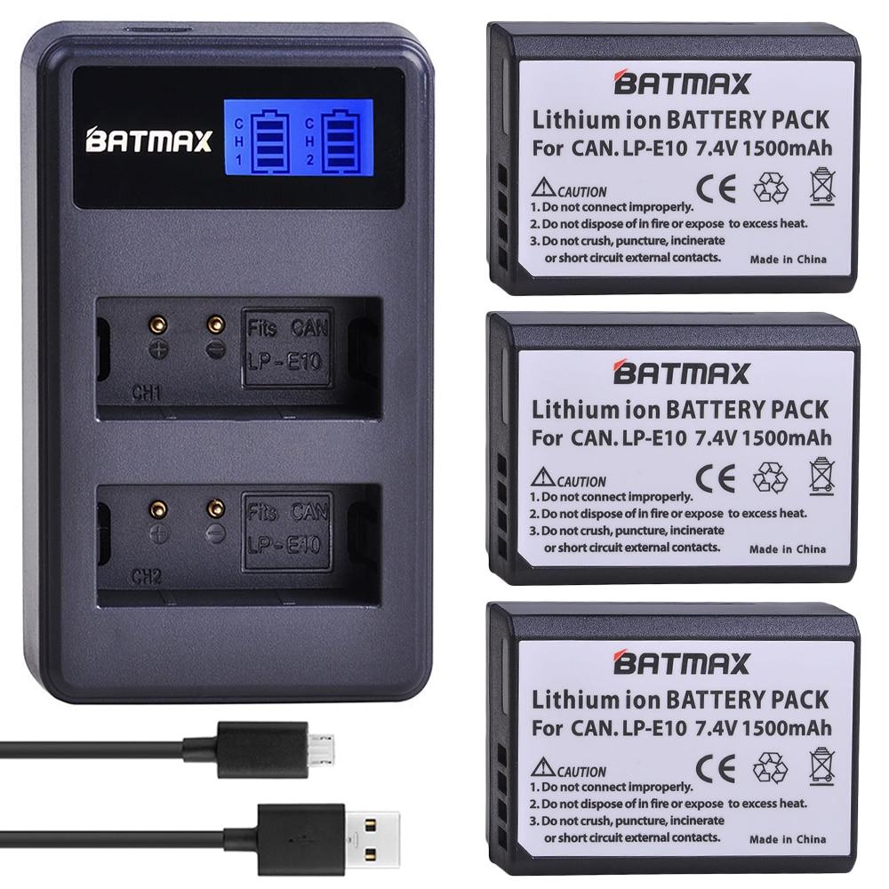 3x LP-E10 LPE10 LP E10 Kamera Batterie Batterie AKKU + LCD Dual USB Ladegerät für Canon 1100D 1200D 1300D Rebel t3 T5 KUSS X50 T6