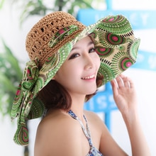 Lady New Handmade Flower Straw Sun Hats Women Wide Brim Beach Sun Cap Girls Breathable Collapsible Travel Hats B-7991