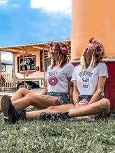 Femmes t-shirt meilleur ami BFF chemises correspondant dessin animé beignet café impression petite amie t-shirt mignon meilleur ami t-shirts tenues