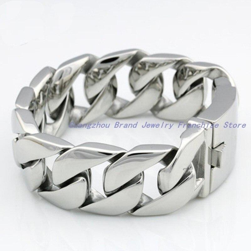 Nueva joyería de alta tecnología totalmente pulida 316L de acero inoxidable color plata cadena de eslabones brazalete para hombres, tecnología de primera clase