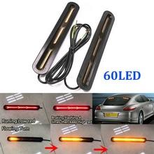 2x 12V /24V 60 LED Tail Light Bar Strip Car Truck Rear Windshield Brake Stop Flowing Turn Signal Light Trailer Taillights Strip