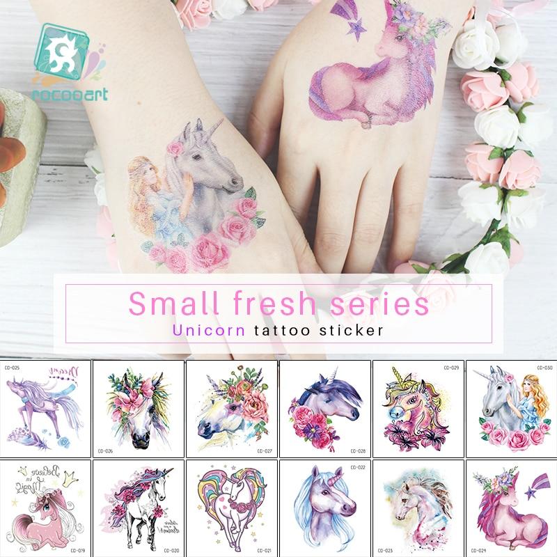 New Cartoon Colorful Unicorn Fairy Tales Temporary Tattoo For Children Kids Waterproof Tattoo Sticker Girl Baby Body Art Horse