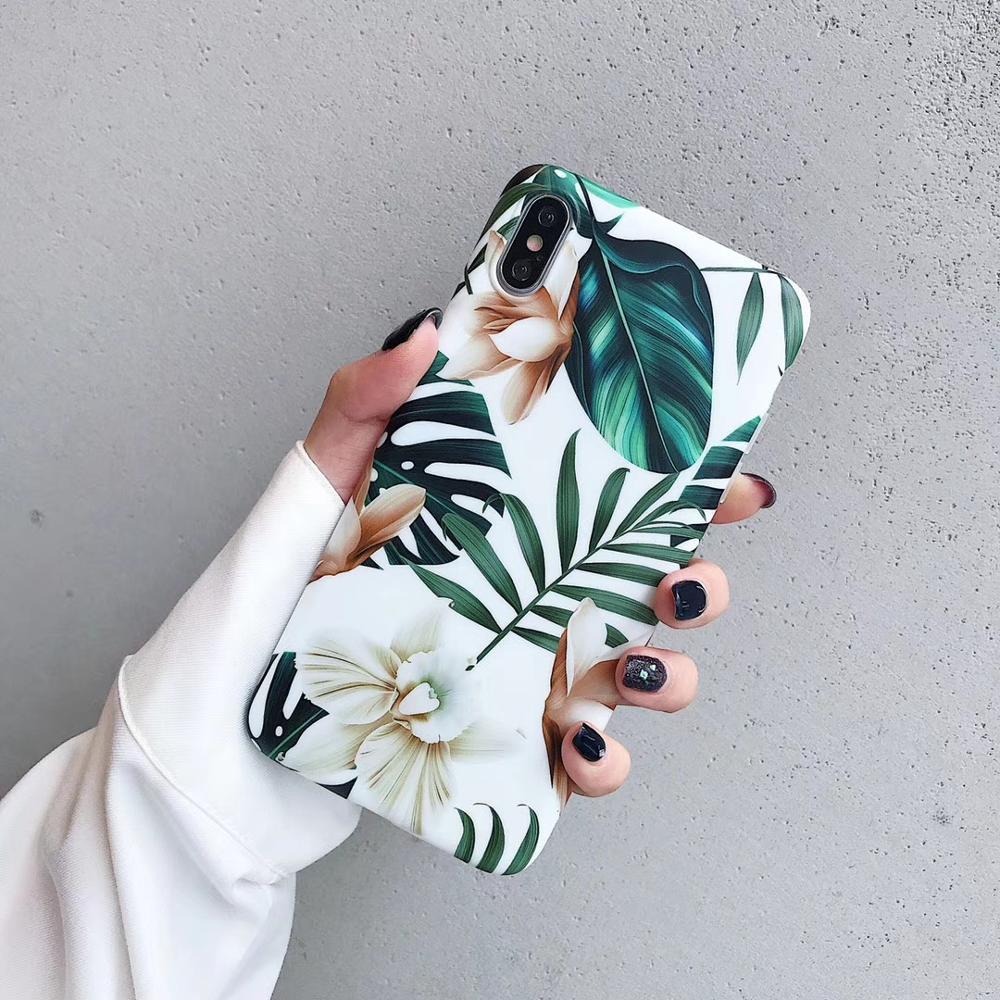 Luxus Blumen Blatt Telefon Fall Für iphone XS Max Fall Für iphone 11 11pro Max X XR 6 S 7 8 plus Zurück Abdeckung Weiche TPU Cases Retro