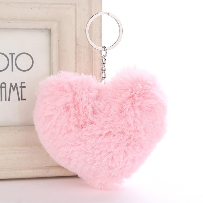 LLavero de pompón de pelo mullido suave Color sólido forma de corazón pompón imitación Bola de pelo de conejo llavero para el bolso accesorios de regalo MQ26