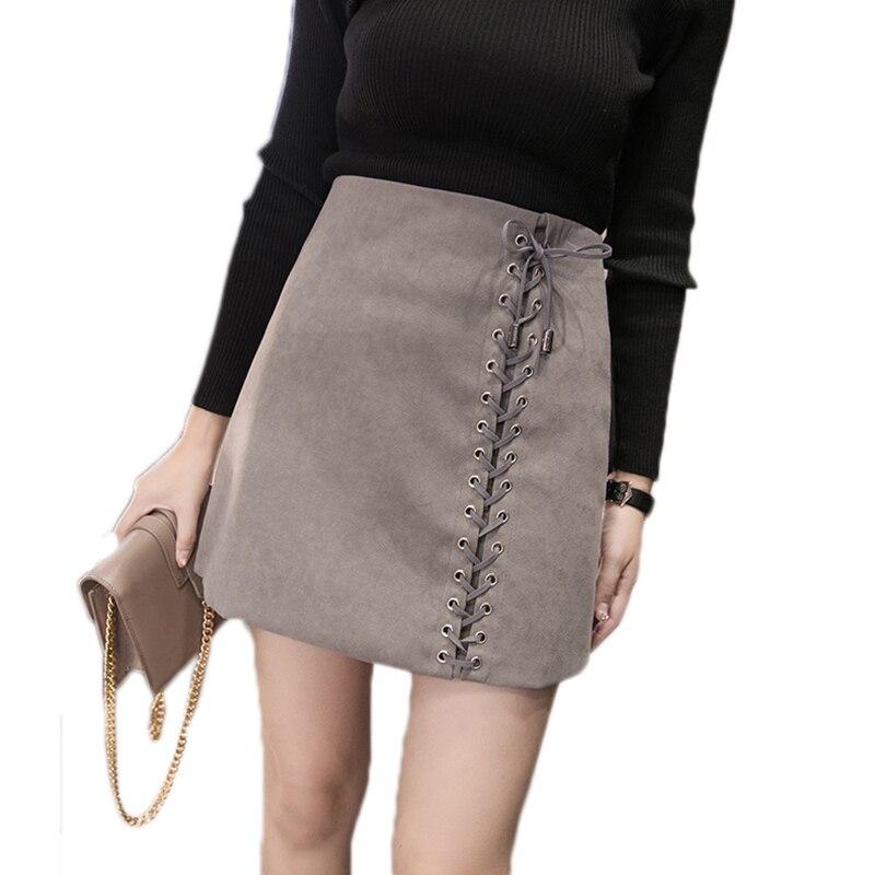 Черная коричневая замшевая юбка, женская сексуальная Кожаная Мини-Юбка со шнуровкой, осенняя Новая тонкая короткая юбка с высокой талией, ж...