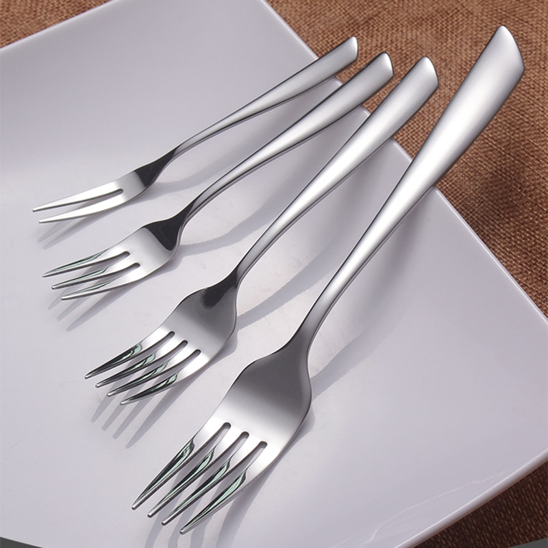 6pcs Stainless Steel Dinner Fork Salad Dessert Fruit Cake Forks Silver Dinnerware Korean Dining Cutlery set Western Table Forks