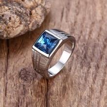 Bagues homme acier inoxydable zircon cubique bleu taille bague bijoux mode alliance anel masculino bague