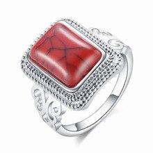 2019 nuevo anillo de piedra Natural antiguo Vintage rojo/turquesas azules claras anillo de dedo para mujeres anillos de aniversario de bodas románticas
