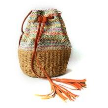 Nouveau sac à bandoulière femmes PP herbe gland seau sac décontracté sauvage Messenger tissé sac de paille tissé sac à main