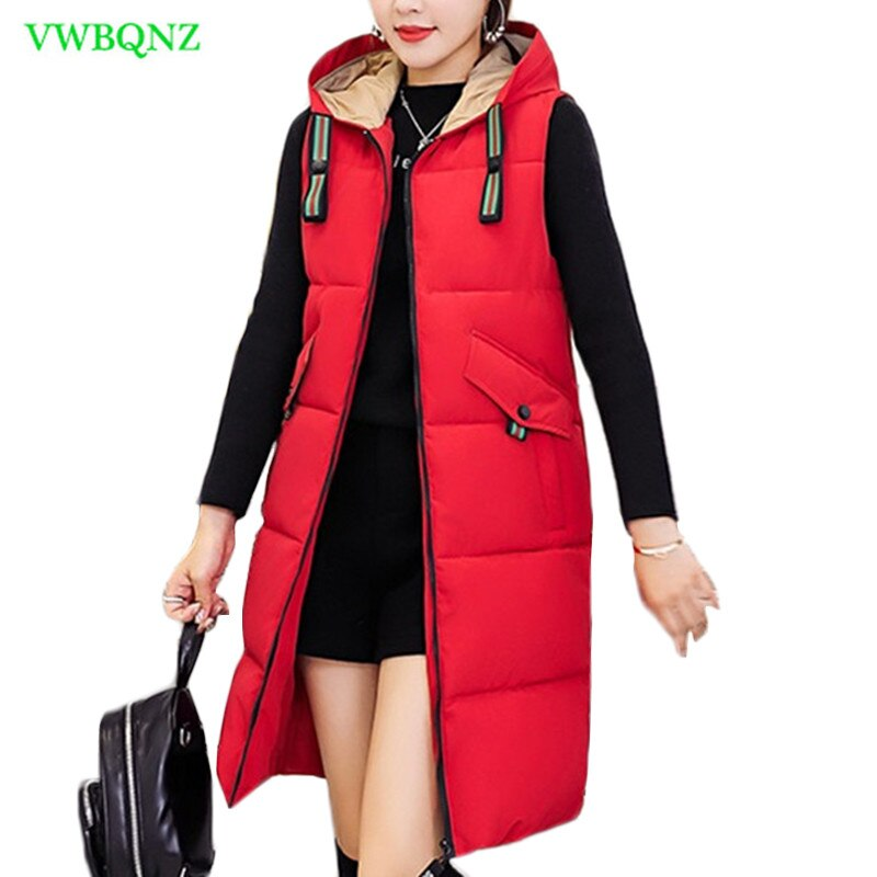 Autumn and Winter New Korean Down cotton Vest Women Slim Thicken Cotton Vest Women's Long Zipper Hooded Cotton Outerwear A831