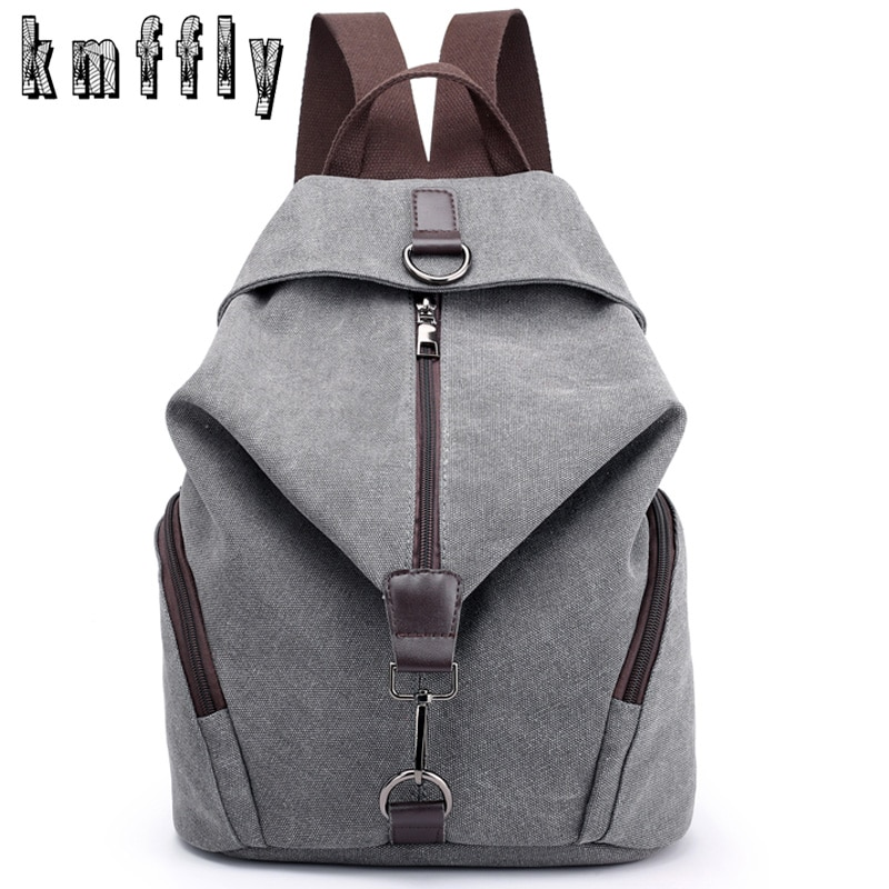 KMFFLY Brand Women Canvas Backpack Preppy Style School Lady Girl Student School Laptop Bag Top Quali