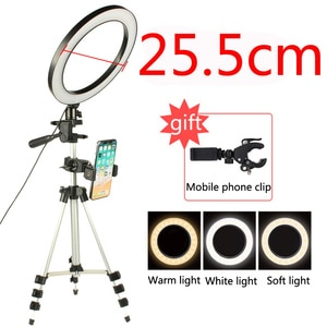 Image 5 - Светодиодный кольцевой светильник для студийной фотосъемки со штативом и USB разъемом