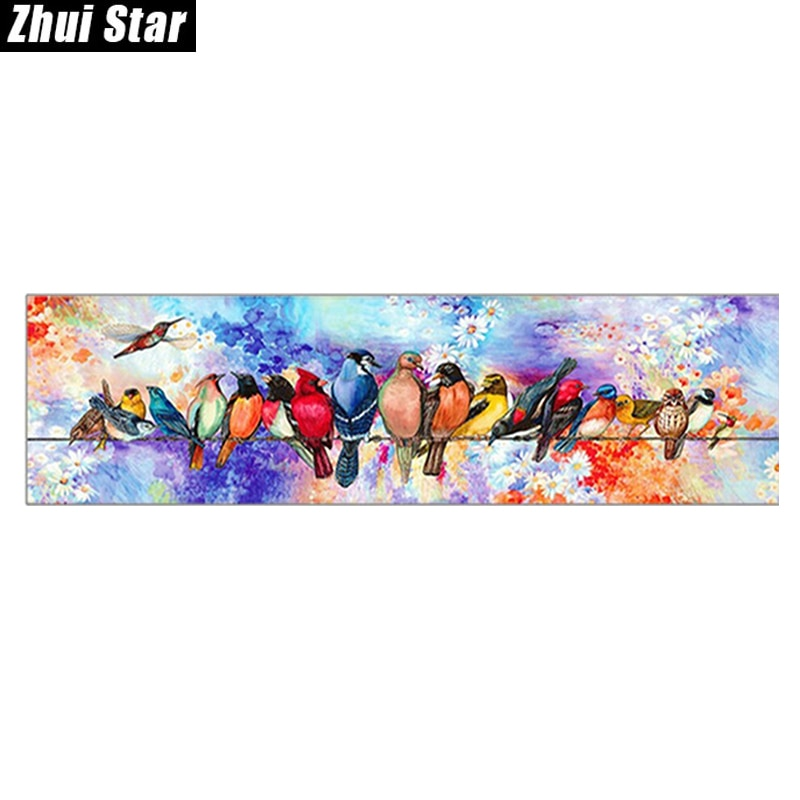 """Zhui Star cuentas cuadradas completas 5D DIY pintura de diamante """"dibujos de pájaros"""" 3D bordado conjunto decoración de mosaico de punto de cruz regalo 27 20-21"""