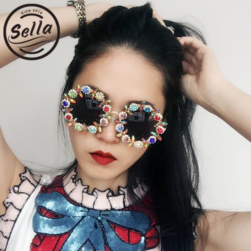 Женские солнцезащитные очки, винтажные, круглые, с кристаллами и цветами, ручная работа