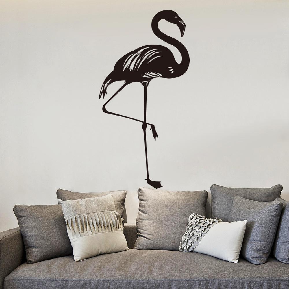 Pegatinas de pared con flamencos para habitaciones de niños y niñas, pegatinas suaves para sala de estar, pegatinas con dibujos animados de animales para pared, pegatina de decoración para habitación