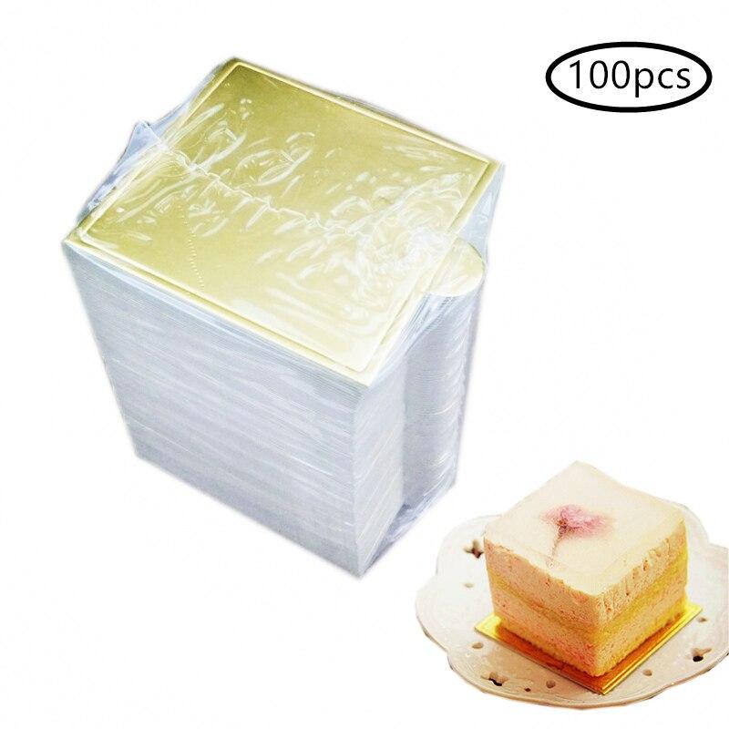 100 шт./компл. доски для торта с квадратным муссом, золотые бумажные украшения для тортов, легкие и обучающие гофрированные доски для тортов, К...