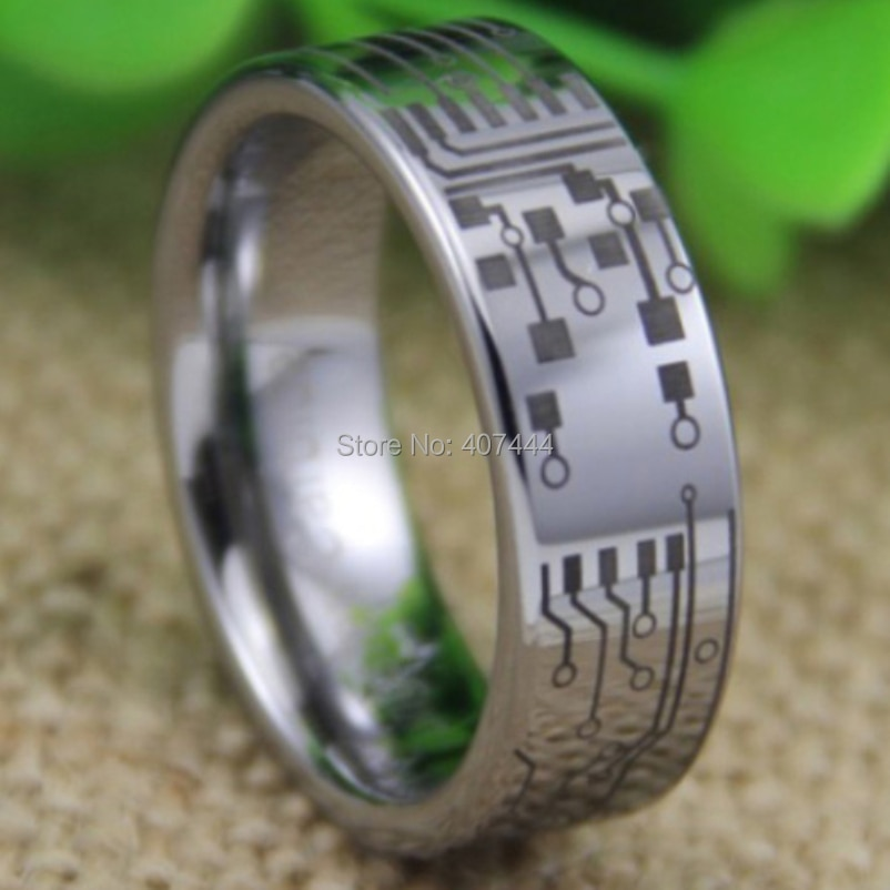 Envío Gratis, joyería YGK, gran oferta, 8 MM, placa de circuito de ajuste cómodo, diseño de tubo de plata, anillo de boda de tungsteno para hombres