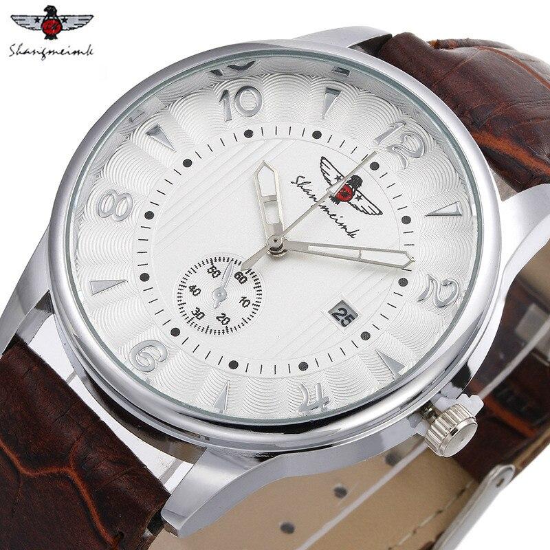 SHANGMEIMK, 2017, relojes para hombre, Reloj clásico de cuarzo de cuero para negocios, reloj de pulsera de moda para hombre, reloj de pulsera Masculino